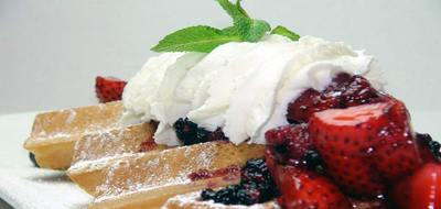 Pane Fresco Famous Belgian Waffles Served with mixed berries, 